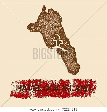 Havelock Island Distressed Map. Grunge Patriotic Poster With Textured Island Ink Stamp And Roller Pa
