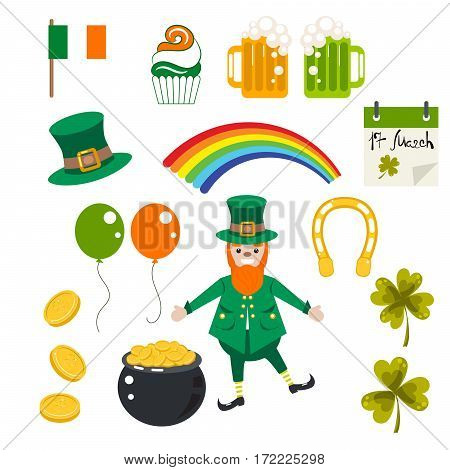 St. Patrick holiday vector illustration set. Irish festival objects hat, clover, coins, beer and leprechaun clip art.