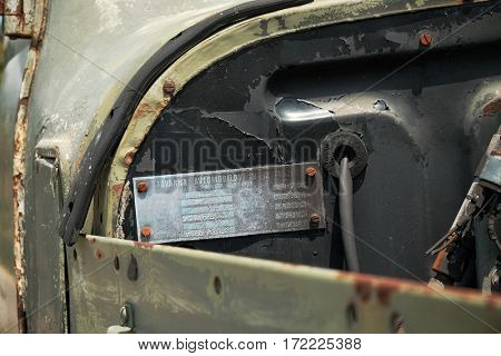 PLUZINE, MONTENEGRO - JULY 27, 2016: metal plate with Vehicle Identification Number of TAM (Tovarna Avtomobilov Maribor = Maribor Automobile Factory) a Yugoslavian commercial vehicle manufacturer