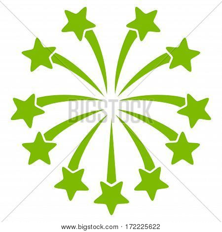 Spherical Fireworks flat icon. Vector light green symbol. Pictogram is isolated on a white background. Trendy flat style illustration for web site design logo ads apps user interface.