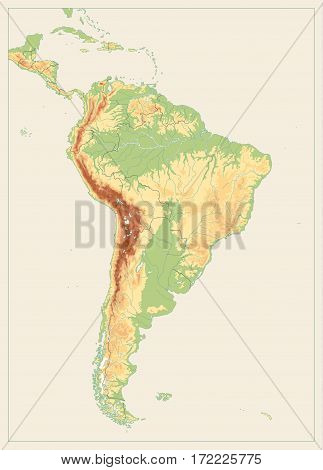 South America Detailed Physical Map with global relief lakes and rivers. Vintage color highly detailed vector map. No text