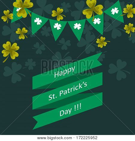 Happy St. Patricks day vector greeting illustration. Green ribbon and bunting with clover leaves festive background.