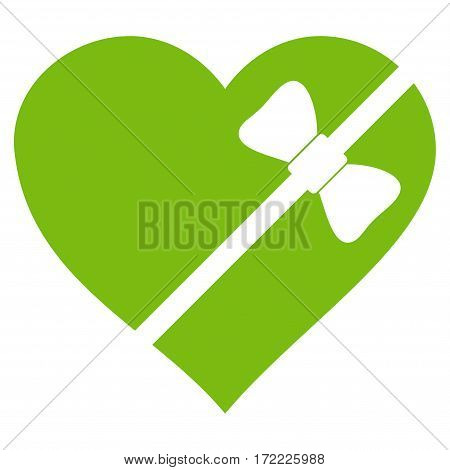 Tied Love Heart flat icon. Vector light green symbol. Pictograph is isolated on a white background. Trendy flat style illustration for web site design logo ads apps user interface.