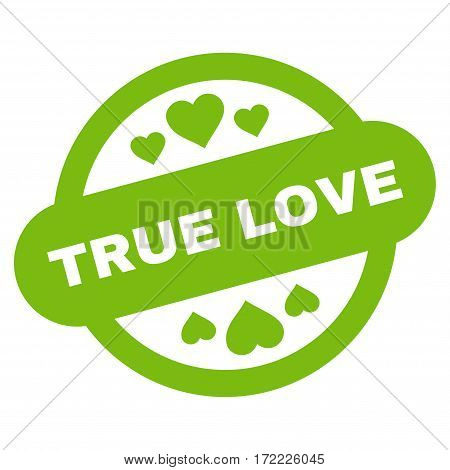 True Love Stamp Seal flat icon. Vector light green symbol. Pictograph is isolated on a white background. Trendy flat style illustration for web site design logo ads apps user interface.
