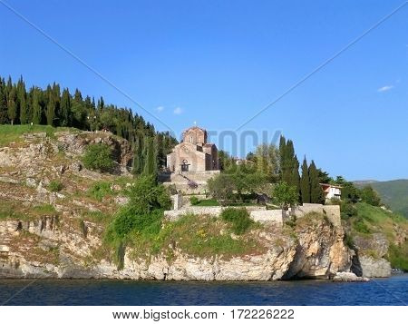 Church of St. John at Kaneo on the cliff as seen from Lake Ohrid, Republic of Macedonia