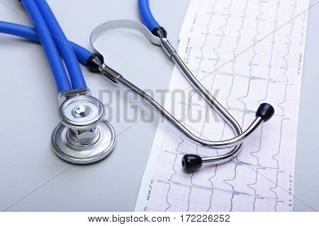 RX prescription, Red heart and a stethoscope on white background.