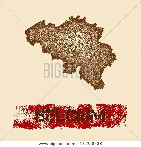 Belgium Distressed Map. Grunge Patriotic Poster With Textured Country Ink Stamp And Roller Paint Mar