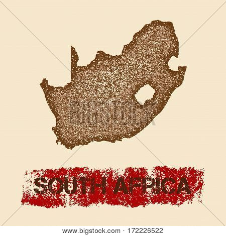 South Africa Distressed Map. Grunge Patriotic Poster With Textured Country Ink Stamp And Roller Pain