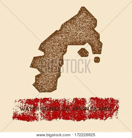 Water Island, U.s. Virgin Islands Distressed Map. Grunge Patriotic Poster With Textured Island Ink S