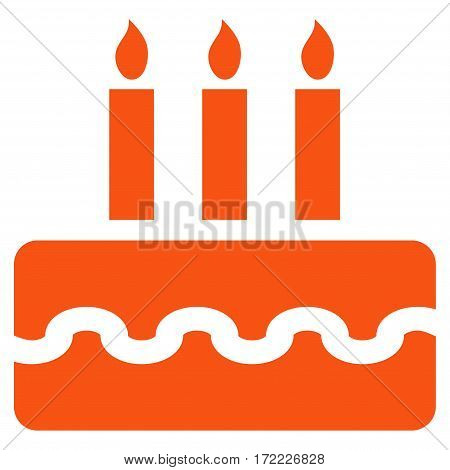 Birthday Cake flat icon. Vector orange symbol. Pictogram is isolated on a white background. Trendy flat style illustration for web site design logo ads apps user interface.