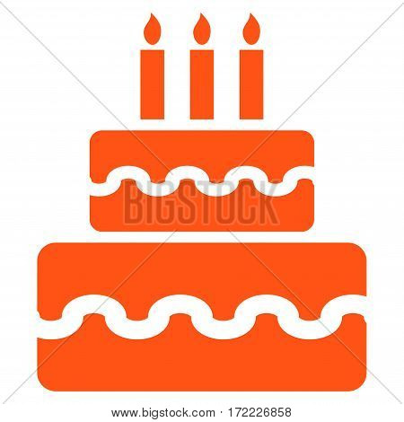 Birthday Cake flat icon. Vector orange symbol. Pictograph is isolated on a white background. Trendy flat style illustration for web site design logo ads apps user interface.