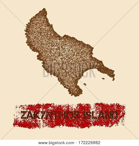 Zakynthos Island Distressed Map. Grunge Patriotic Poster With Textured Island Ink Stamp And Roller P