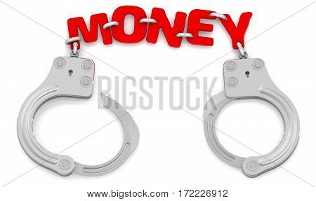 Money as limiter of freedom. Steel handcuffs with red word