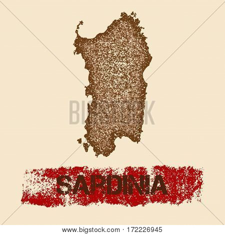 Sardinia Distressed Map. Grunge Patriotic Poster With Textured Island Ink Stamp And Roller Paint Mar