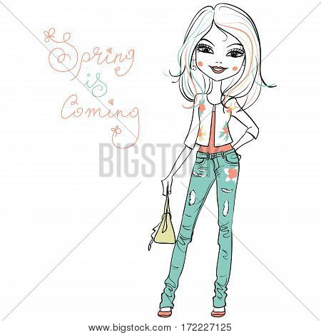 Hand drawn cute beautiful girl in jeans and a white jacket with a flower pattern