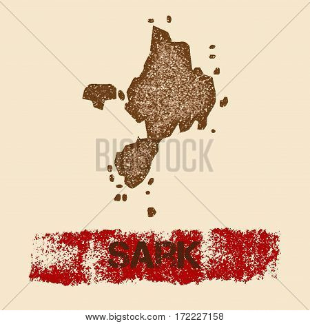 Sark Distressed Map. Grunge Patriotic Poster With Textured Island Ink Stamp And Roller Paint Mark, V