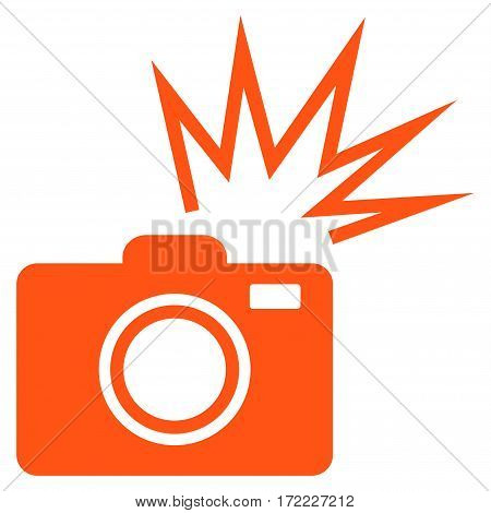 Camera Flash flat icon. Vector orange symbol. Pictogram is isolated on a white background. Trendy flat style illustration for web site design logo ads apps user interface.