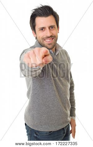 happy casual man pointing, isolated on white