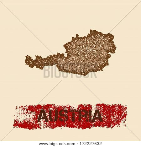 Austria Distressed Map. Grunge Patriotic Poster With Textured Country Ink Stamp And Roller Paint Mar