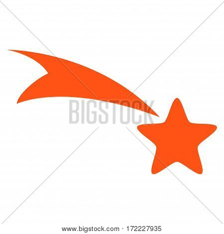 Falling Star flat icon. Vector orange symbol. Pictogram is isolated on a white background. Trendy flat style illustration for web site design logo ads apps user interface.