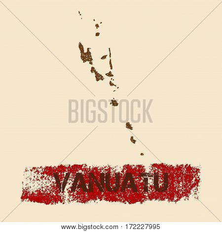 Vanuatu Distressed Map. Grunge Patriotic Poster With Textured Country Ink Stamp And Roller Paint Mar