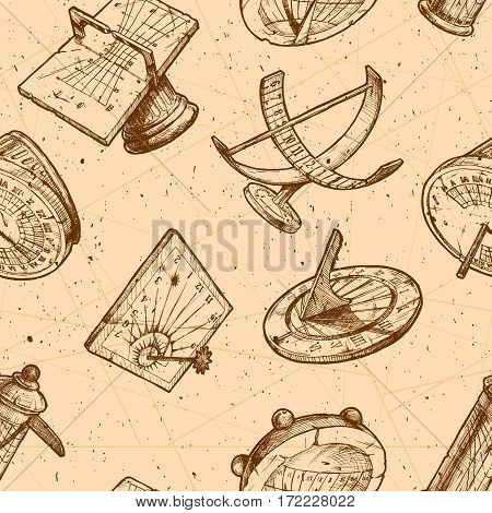 Seamless vector pattern with different sundials in old fashioned etched style