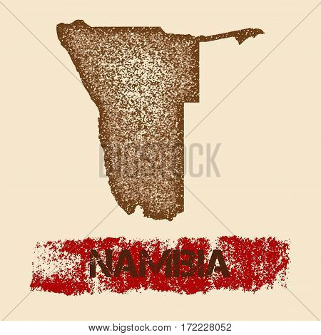 Namibia Distressed Map. Grunge Patriotic Poster With Textured Country Ink Stamp And Roller Paint Mar