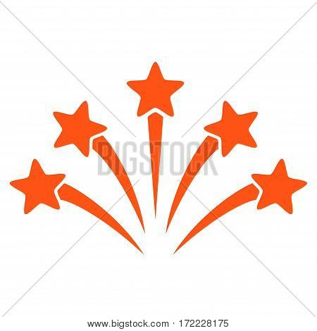 Fireworks Burst flat icon. Vector orange symbol. Pictogram is isolated on a white background. Trendy flat style illustration for web site design logo ads apps user interface.