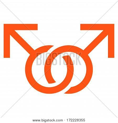 Gay Love Symbol flat icon. Vector orange symbol. Pictogram is isolated on a white background. Trendy flat style illustration for web site design logo ads apps user interface.