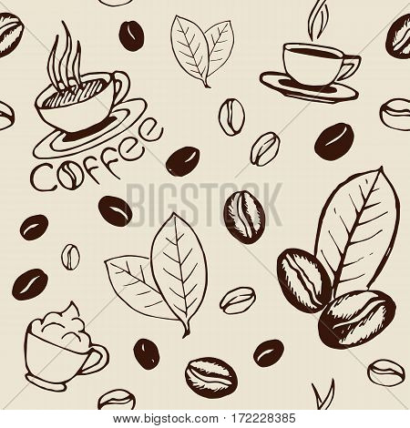 Hand drawn seamless pattern with coffee cups beans and leaves. Sketchy wrapping texture. Vector eps8 illustration.