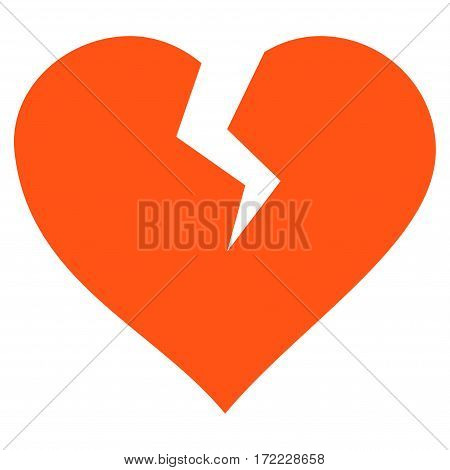 Heart Break flat icon. Vector orange symbol. Pictogram is isolated on a white background. Trendy flat style illustration for web site design logo ads apps user interface.