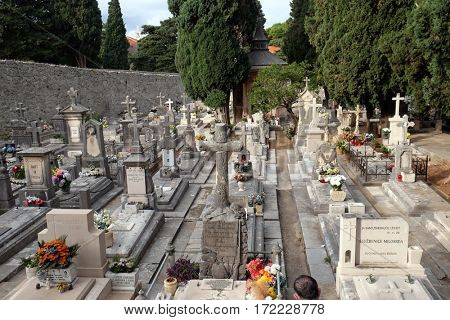 DUBROVNIK, CROATIA - DECEMBER 01: Cemetery in Boninovo district Dubrovnik city Dalmatia, Croatia on December 01, 2015.