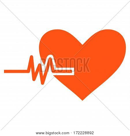 Heart Pulse flat icon. Vector orange symbol. Pictograph is isolated on a white background. Trendy flat style illustration for web site design logo ads apps user interface.