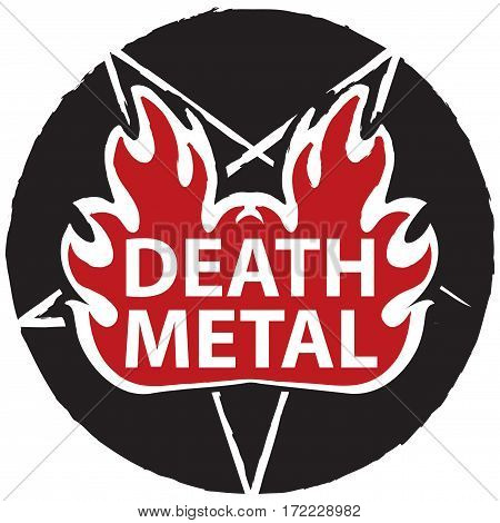 banner for death music with satanic pentagram on fire