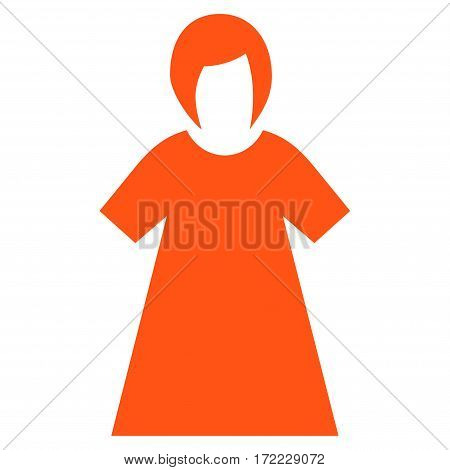 Lady Figure flat icon. Vector orange symbol. Pictogram is isolated on a white background. Trendy flat style illustration for web site design logo ads apps user interface.
