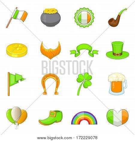 Saint Patrick icons set. Cartoon illustration of 16 Saint Patrick vector icons for web