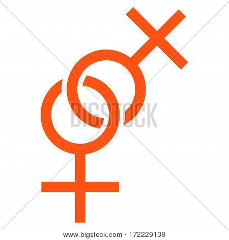 Lesbian Love Symbol flat icon. Vector orange symbol. Pictograph is isolated on a white background. Trendy flat style illustration for web site design logo ads apps user interface.