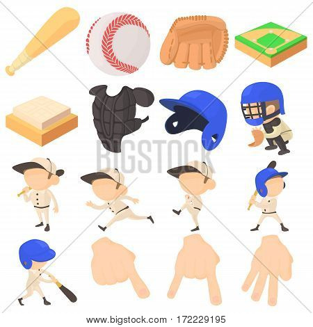 Baseball items icons set. Cartoon illustration of 16 baseball items vector icons for web