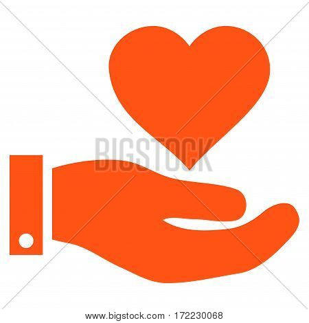 Love Heart Offer Hand flat icon. Vector orange symbol. Pictograph is isolated on a white background. Trendy flat style illustration for web site design logo ads apps user interface.