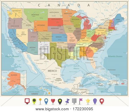 Vintage Color Political Map of USA and Flat Map Pointers with water objects cities and capitals.