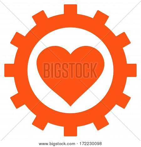 Love Heart Options Gear flat icon. Vector orange symbol. Pictograph is isolated on a white background. Trendy flat style illustration for web site design logo ads apps user interface.