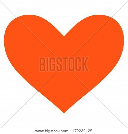 Love Heart flat icon. Vector orange symbol. Pictograph is isolated on a white background. Trendy flat style illustration for web site design logo ads apps user interface.