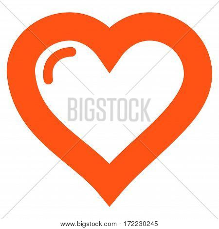 Love Heart flat icon. Vector orange symbol. Pictogram is isolated on a white background. Trendy flat style illustration for web site design logo ads apps user interface.