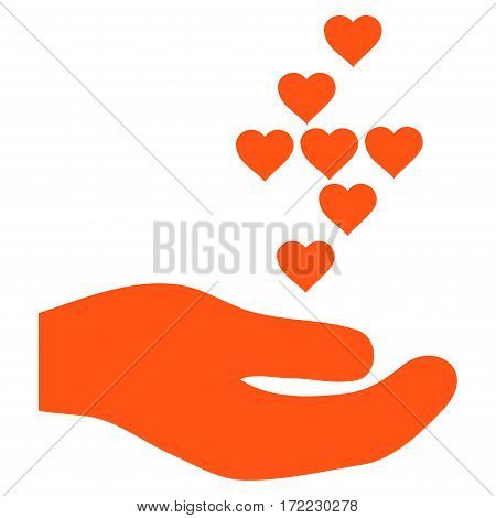 Love Hearts Offer Hand flat icon. Vector orange symbol. Pictogram is isolated on a white background. Trendy flat style illustration for web site design logo ads apps user interface.