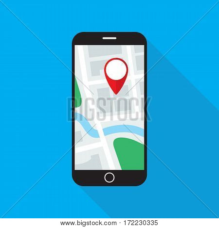 Navigation application on smartphone screen. Map with GPS location mark displayed on cellular phone monitor. Flat style icon. Vector eps8 illustration.