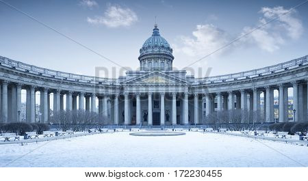 Panorama of Kazan Cathedral in winter St. Petersburg Russia