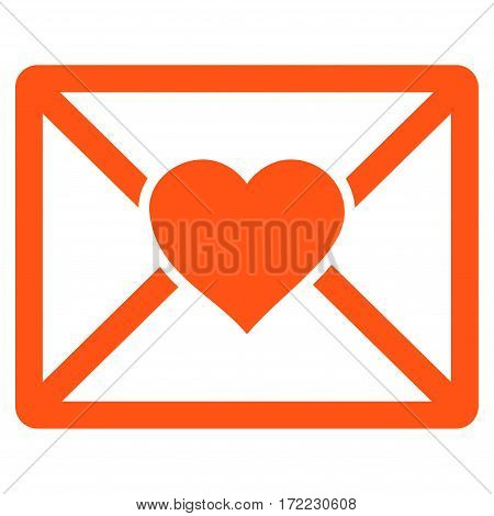 Love Letter flat icon. Vector orange symbol. Pictograph is isolated on a white background. Trendy flat style illustration for web site design logo ads apps user interface.