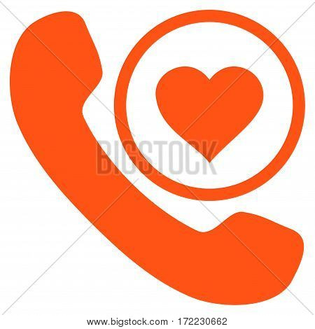 Love Phone Call flat icon. Vector orange symbol. Pictograph is isolated on a white background. Trendy flat style illustration for web site design logo ads apps user interface.