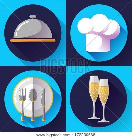 Restaurant icons set flat style Cooking and kitchen, serving food.