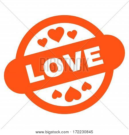 Love Stamp Seal flat icon. Vector orange symbol. Pictograph is isolated on a white background. Trendy flat style illustration for web site design logo ads apps user interface.